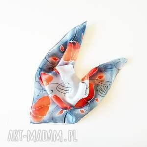 malowana apaszka chustki i apaszki niebieskie jedwabna - makowa