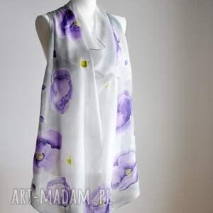 jedwabna chusta chustki i apaszki fioletowe malowana - maki w