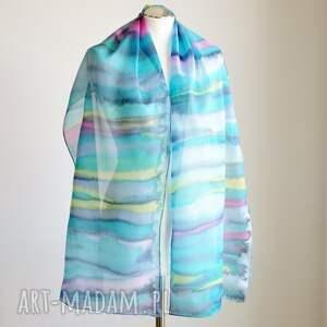 ręcznie robione chustki i apaszki jedwab jedwabny malowany szal - kolorowe
