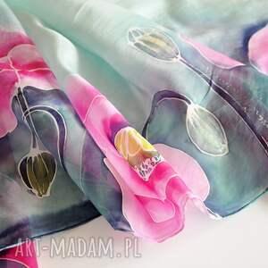 jedwabny-szal chustki i apaszki różowe jedwabny malowany szal -