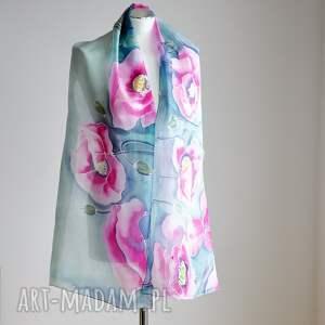 ręczne wykonanie chustki i apaszki makowy-szal jedwabny malowany szal - różowe