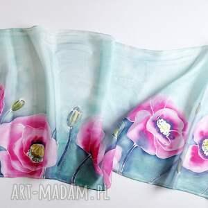turkusowe chustki i apaszki naturalny-jedwab jedwabny malowany szal - różowe