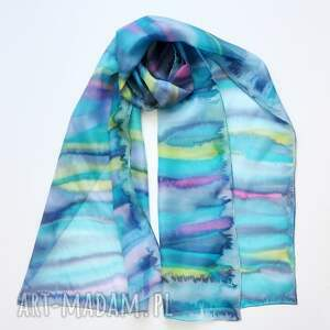 ręcznie robione chustki i apaszki jedwabny szal malowany - kolorowe