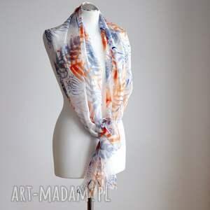 niebieskie chustki i apaszki jedwabny-szal jedwabny malowany szal w liście