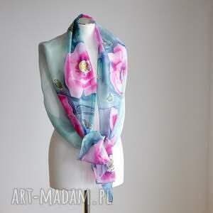 ręczne wykonanie chustki i apaszki jedwabny-szal jedwabny malowany szal - różowe