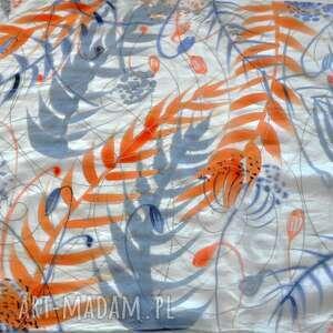 szal chustki i apaszki pomarańczowe jedwabny malowany w liście