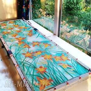 atrakcyjne chustki i apaszki liliowiec jedwabny szal malowany w liliowce