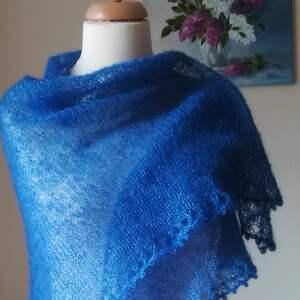 chustki i apaszki chusta kobaltowe otulenie jedwab z moherem