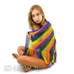 ręczne wykonanie chustki i apaszki chusta kolorowa ażurowa z frędzlami