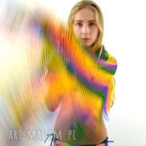 dodatek chustki i apaszki kolorowa chusta ażurowa z frędzlami