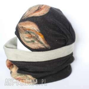 kolorowe chustki i apaszki komplet damski wełniany filcowany