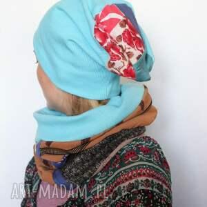 chustki i apaszki czapka komplet patchworkowy kolorowy