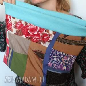 czapka chustki i apaszki komplet patchworkowy kolorowy