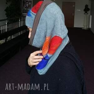 ręcznie wykonane chustki i apaszki komplet wełniany niebieski wełna