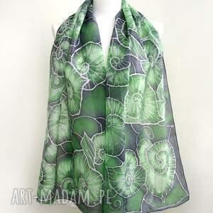 zielone chustki i apaszki begonia szal liście begonii to ręcznie malowany obraz