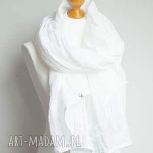 chustki i apaszki szalik lniany szal chusta w kolorze białym