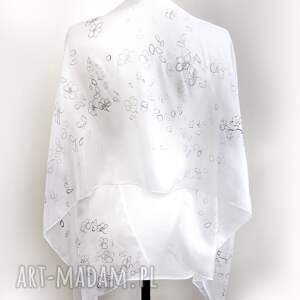 szal jedwabny chustki i apaszki białe minimalistyczny biały malowany