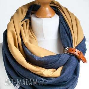 bawełna chustki i apaszki miodowo jeansowy komin tuba