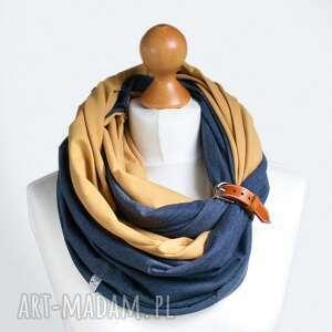 żółte chustki i apaszki komin miodowo jeansowy tuba
