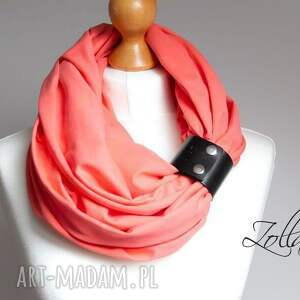 pomarańczowe chustki i apaszki bawełniany modny komin z zapinką
