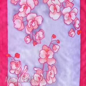 orchidea chustki i apaszki czerwone czerwono fioletowy szal