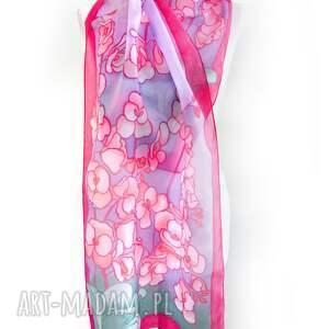 unikalne malowany szalik orchidea czerwono fioletowy szal