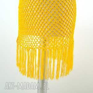 ażur chustki i apaszki pareo ażurowe żółte z frędzlami
