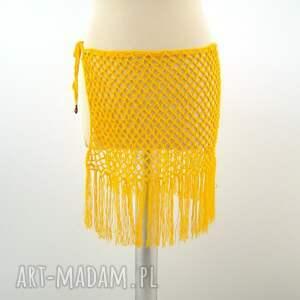 wyjątkowe chustki i apaszki pareo ażurowe żółte z frędzlami