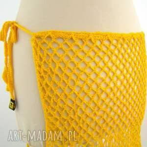 chustki i apaszki ażur pareo ażurowe żółte z frędzlami