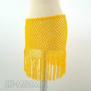 wyjątkowe chustki i apaszki ażur pareo ażurowe żółte z frędzlami