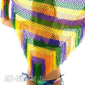 ręczne wykonanie chustki i apaszki dodatek kolorowa chusta ażurowa z frędzlami