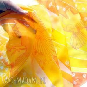 ręczne wykonanie chustki i apaszki apaszka na lato ptaki i dmuchawce w lecie - szal