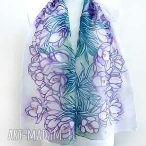 szalik jedwabny chustki i apaszki turkusowe ręcznie malowany szal krokusy