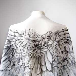 białe chustki i apaszki skrzydła ręcznie rysowany szal jedwabny