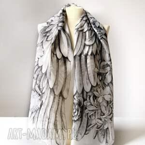 chustki i apaszki skrzydła ręcznie rysowany szal jedwabny