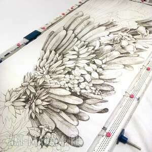 chustki i apaszki szal ze skrzydłami ręcznie rysowany jedwabny