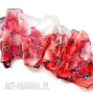 gustowne chustki i apaszki szal jedwabny malowany w czerwone