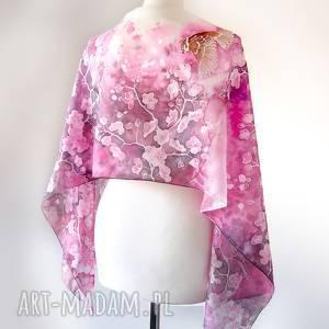 ręczne wykonanie chustki i apaszki wróble szal jedwabny kwiaty wiśni