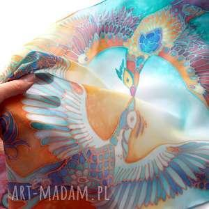 malowany-jedwab chustki i apaszki szal jedwabny feniks ręcznie