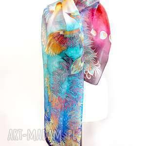 ręcznie zrobione chustki i apaszki malowany-jedwab szal jedwabny feniks