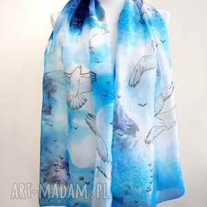 malowany jedwab chustki i apaszki szal jedwabny mewy ręcznie