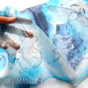 niebieskie chustki i apaszki szal jedwabny mewy ręcznie