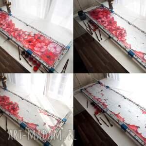 chustki i apaszki: Szal jedwabny malowany w czerwone maki prezent dla mamy