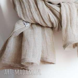 apaszka chustki i apaszki szal lniany beżowy obszerny, modny