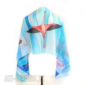 ręczne wykonanie chustki i apaszki flamingi szalik ręcznie malowany na