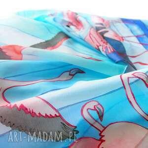 flamingi chustki i apaszki niebieskie szalik ręcznie malowany na