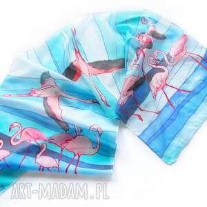 turkusowe chustki i apaszki szalik-jedwabny szalik flamingi ręcznie malowany na