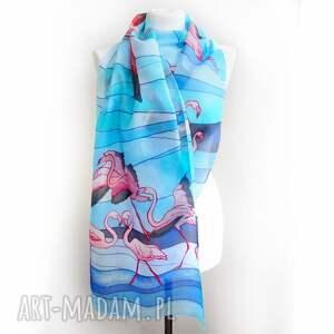 chustki i apaszki ręcznie-malowany szalik flamingi ręcznie malowany na