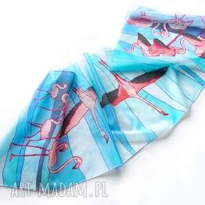 ręczne wykonanie chustki i apaszki ręcznie-malowany szalik flamingi ręcznie malowany na