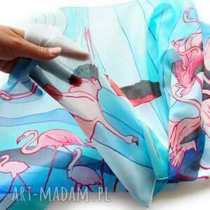 ręcznie-malowany chustki i apaszki szalik flamingi ręcznie malowany na